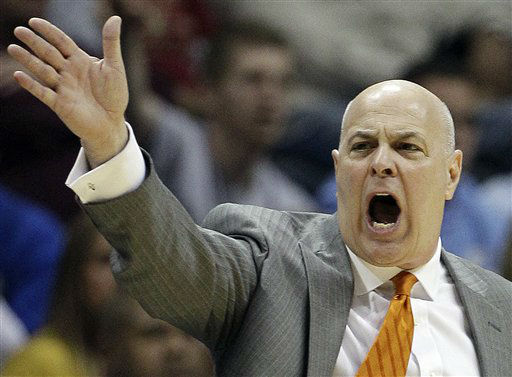 Virginia Tech head coach Seth Greenberg speaks during the first half of an NCAA college basketball game against the Virginia Tech in the quarterfinals of the Atlantic Coast Conference tournament, Friday, March 9, 2012, in Atlanta.  <span class=meta>(AP Photo&#47; Chuck Burton)</span>