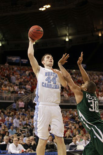 North Carolina Tar Heels forward Tyler Zeller shoots over Ohio Bobcats&#39; Reggie Keely during the first half of an NCAA tournament Midwest Regional college basketball game Friday, March 23, 2012, in St. Louis.   <span class=meta>(&#40;AP Photo&#47;Charlie Riedel&#41;)</span>
