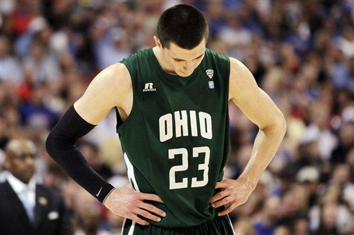 Ohio forward Ivo Baltic &#40;23&#41; looks down during the second half of an NCAA tournament Midwest Regional college basketball game against North Carolina Tar, Friday, March 23, 2012, in St. Louis. North Carolina won 73-65 in overtime.  <span class=meta>(&#40;AP Photo&#47;Jeff Roberson&#41;)</span>