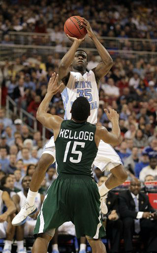 "<div class=""meta image-caption""><div class=""origin-logo origin-image ""><span></span></div><span class=""caption-text"">North Carolina Tar Heels' Reggie Bullock shoots over Ohio Bobcats' Nick Kellogg during the second half of an NCAA tournament Midwest Regional college basketball game Friday, March 23, 2012, in St. Louis.  ((AP Photo/Jeff Roberson))</span></div>"