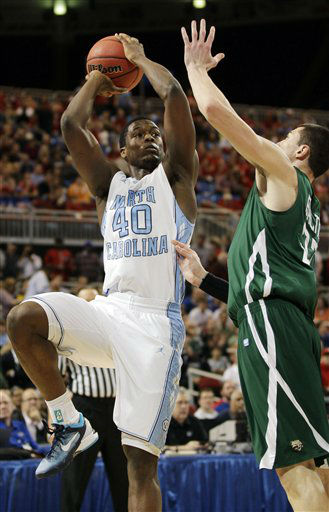 North Carolina forward Harrison Barnes &#40;40&#41; shoots against Ohio forward Ivo Baltic &#40;23&#41; during the first half of an NCAA tournament Midwest Regional college basketball game, Friday, March 23, 2012, in St. Louis. <span class=meta>(&#40;AP Photo&#47;Charlie Riedel&#41;)</span>