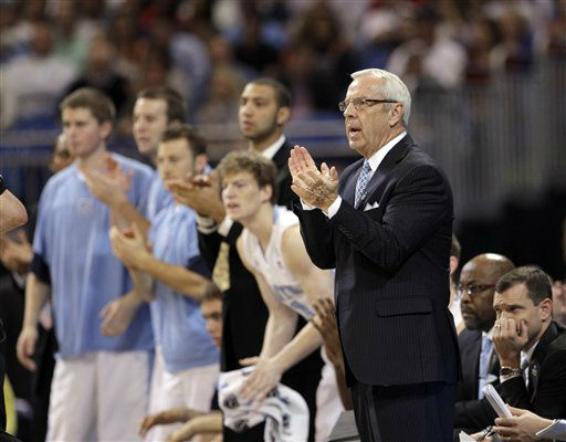 North Carolina Tar Heels head coach Roy Williams reacts against the Ohio Bobcats during the first half of an NCAA tournament Midwest Regional college basketball game Friday, March 23, 2012, in St. Louis.  <span class=meta>(&#40;AP Photo&#47;Charlie Riedel&#41;)</span>