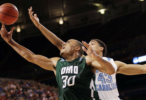 Ohio forward Reggie Keely &#40;30&#41; shoots against North Carolina forward James Michael McAdoo &#40;43&#41; during the first half of an NCAA tournament Midwest Regional college basketball game, Friday, March 23, 2012, in St. Louis.  <span class=meta>(&#40;AP Photo&#47;Charlie Riedel&#41;)</span>