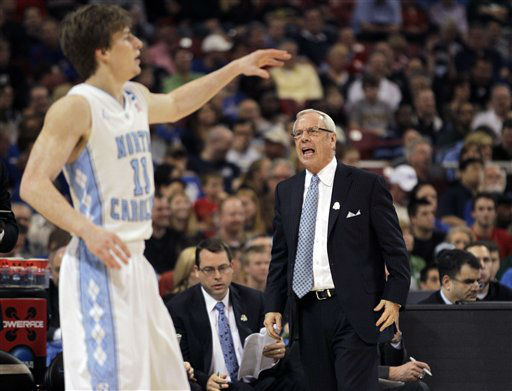 North Carolina Tar Heels head coach Roy Williams reacts as Stilman White calls a play against the Ohio Bobcats during the first half of an NCAA tournament Midwest Regional college basketball game Friday, March 23, 2012, in St. Louis.  <span class=meta>(&#40;AP Photo&#47;Jeff Roberson&#41;)</span>