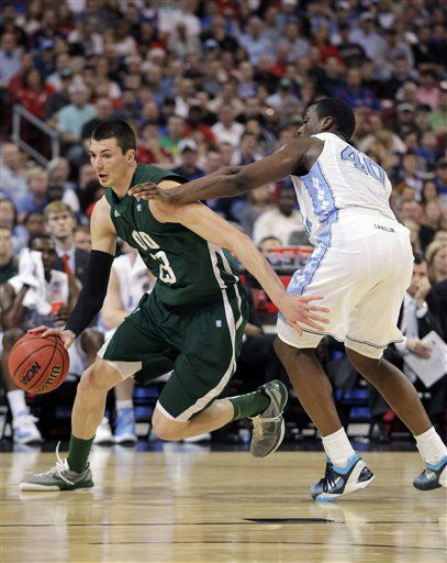 Ohio Bobcats&#39; Ivo Baltic drives pas North Carolina Tar Heels&#39; Harrison Barnes during the first half of an NCAA tournament Midwest Regional college basketball game Friday, March 23, 2012, in St. Louis. <span class=meta>( &#40;AP Photo&#47;Jeff Roberson&#41;)</span>