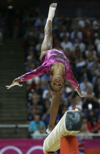 "<div class=""meta image-caption""><div class=""origin-logo origin-image ""><span></span></div><span class=""caption-text"">U.S. gymnast Gabrielle Douglas performs on the balance beam during the artistic gymnastics women's individual all-around competition at the 2012 Summer Olympics, Thursday, Aug. 2, 2012, in London. (AP Photo/ Julie Jacobson)</span></div>"