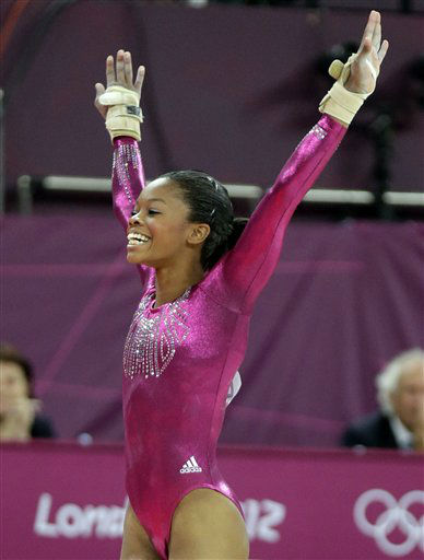 "<div class=""meta image-caption""><div class=""origin-logo origin-image ""><span></span></div><span class=""caption-text"">U.S. gymnast Gabrielle Douglas reacts after her performance on the floor during the artistic gymnastics women's individual all-around competition at the 2012 Summer Olympics, Thursday, Aug. 2, 2012, in London.  (AP Photo/ Julie Jacobson)</span></div>"