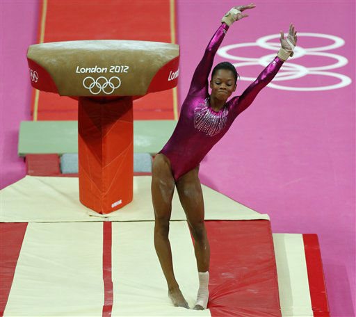 "<div class=""meta image-caption""><div class=""origin-logo origin-image ""><span></span></div><span class=""caption-text"">U.S. gymnast Gabrielle Douglas dismounts from the vault during the Artistic Gymnastic women's individual all-around competition at the 2012 Summer Olympics, Thursday, Aug. 2, 2012, in London. (AP Photo/ Matt Dunham)</span></div>"
