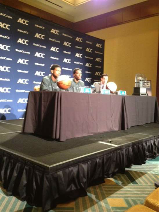 "<div class=""meta ""><span class=""caption-text "">Miami players at TV podium (WTVD Photo/ Charlie Mickens)</span></div>"