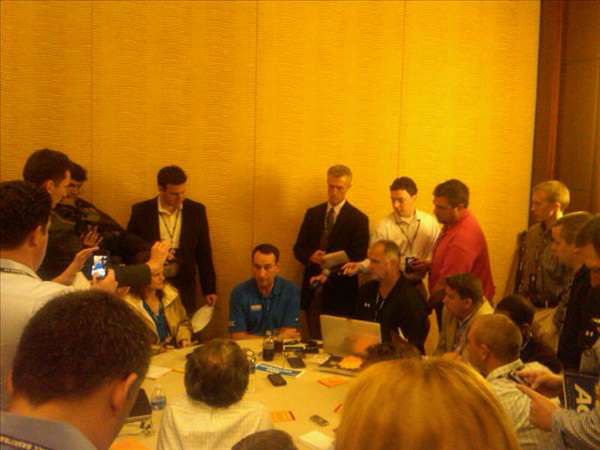 The crowd of media around Coach K. <span class=meta>(WTVD Photo&#47; Charlie Mickens)</span>