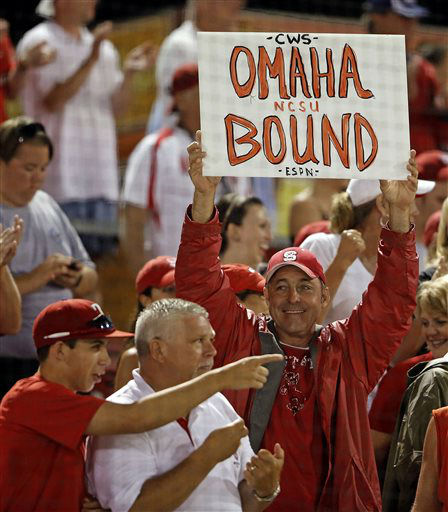 An unidentified North Carolina State fan holds up a sign following States&#39; 5-4 win over Rice in 17 innings during an NCAA college baseball tournament super regional game, Sunday, June 9, 2013, in Raleigh, N.C. &#40;AP Photo&#47;Karl B DeBlaker&#41; <span class=meta>(AP Photo&#47; Karl B DeBlaker)</span>