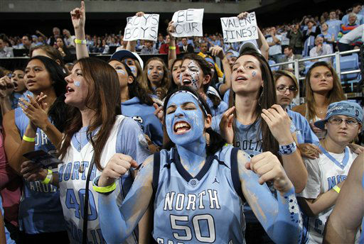 "<div class=""meta ""><span class=""caption-text "">North Carolina fans cheer before an NCAA college basketball game against Duke in Chapel Hill, N.C., Wednesday, Feb. 8, 2012.  (AP Photo/ Jim R. Bounds)</span></div>"