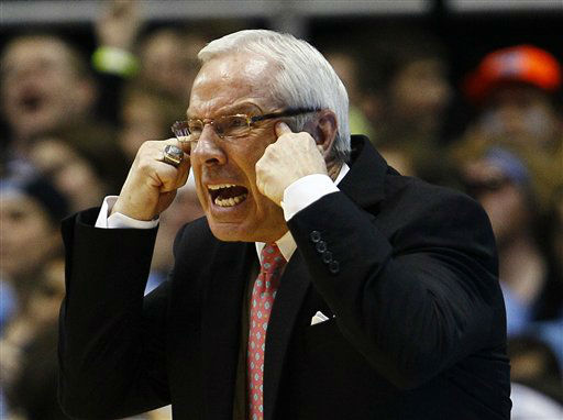 "<div class=""meta ""><span class=""caption-text "">North Carolina coach Roy Williams yells to his players during the first half of an NCAA college basketball game against Duke in Chapel Hill, N.C., Wednesday, Feb. 8, 2012.  (AP Photo/ Gerry Broome)</span></div>"