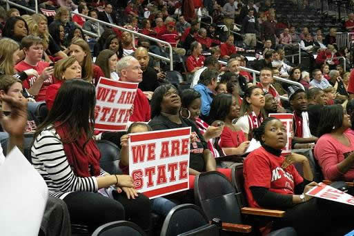 Fans in the NC State section anxiously waiting the game to start <span class=meta>(WTVD&#47;Britt Guarglia)</span>