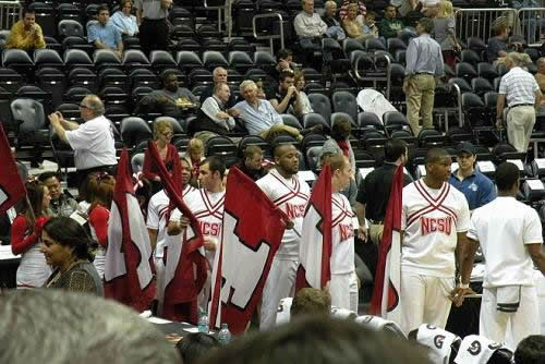 The cheerleaders wait to take the court before the start of the second half <span class=meta>(WTVD&#47;Britt Guarglia)</span>