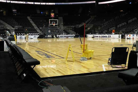 After an NC State victory, the court must be cleaned and ready for the next game <span class=meta>(WTVD&#47;Britt Guarglia)</span>
