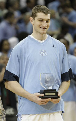 North Carolina forward Tyler Zeller &#40;44&#41; receives the Atlantic Coach Conference&#39; Skip Prosser award before the first half of an NCAA college basketball game against Maryland in the quarterfinals of the Atlantic Coast Conference tournament, Friday, March 9, 2012, in Atlanta. The awatd is for the top scholar athlete in the conference. <span class=meta>(AP Photo&#47; Chuck Burton)</span>