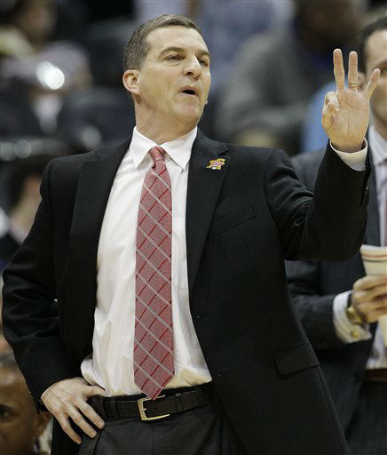 Maryland head coach Mark Turgeon calls a play against the North Carolina during the first half of an NCAA college basketball game in the quarterfinals of the Atlantic Coast Conference tournament, Friday, March 9, 2012, in Atlanta.  <span class=meta>(AP Photo&#47; Chuck Burton)</span>