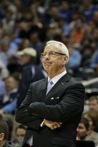 "<div class=""meta image-caption""><div class=""origin-logo origin-image ""><span></span></div><span class=""caption-text"">North Carolina head coach Roy Williams watches play against Maryland during the first half of an NCAA college basketball game in the quarterfinals of the Atlantic Coast Conference tournament, Friday, March 9, 2012, in Atlanta.  (AP Photo/ John Bazemore)</span></div>"