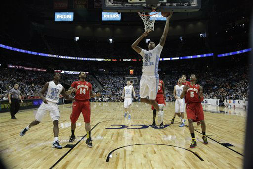 North Carolina forward John Henson &#40;31&#41; shoots against Maryland during the first half of an NCAA college basketball game in the quarterfinals of the Atlantic Coast Conference tournament, Friday, March 9, 2012, in Atlanta. <span class=meta>(AP Photo&#47; Chuck Burton)</span>