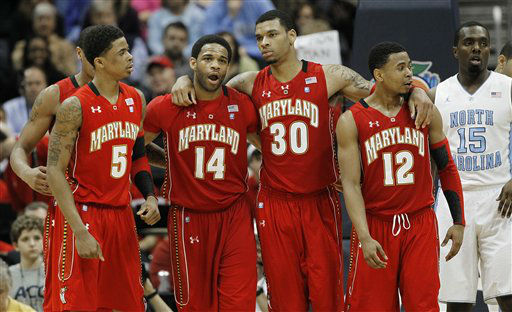 Maryland guard Nick Faust &#40;5&#41; Maryland guard Sean Mosley &#40;14&#41; Maryland forward Ashton Pankey &#40;30&#41; and Maryland guard Terrell Stoglin &#40;12&#41; walk down the court after a North Carolina foul during the first half of an NCAA college basketball game in the quarterfinals of the Atlantic Coast Conference tournament, Friday, March 9, 2012, in Atlanta.  <span class=meta>(AP Photo&#47; John Bazemore)</span>