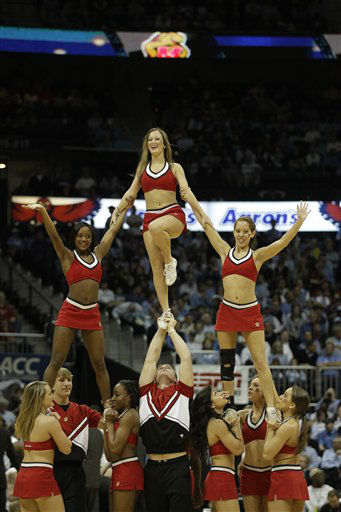 "<div class=""meta ""><span class=""caption-text "">Maryland cheerleaders perform during the second half of an NCAA college basketball game against the North Carolina in the quarterfinals of the Atlantic Coast Conference tournament, Friday, March 9, 2012, in Atlanta. (AP Photo/ Chuck Burton)</span></div>"