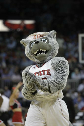 "<div class=""meta ""><span class=""caption-text "">North Carolina State mascot performs during the first half of an NCAA college basketball game against the Virginia in the quarterfinals of the Atlantic Coast Conference tournament,  Friday, March 9, 2012, in Atlanta.  (AP Photo/ Chuck Burton)</span></div>"