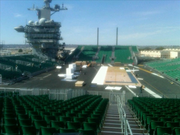 Preparations in San Diego on the USS Carl Vinson to convert its flight deck to a basketball arena for the first ever NCAA Carrier Classic basketball game featuring the UNC Tar Heels and Michigan State. <span class=meta>(WTVD Photo&#47; Charlie Mickens)</span>