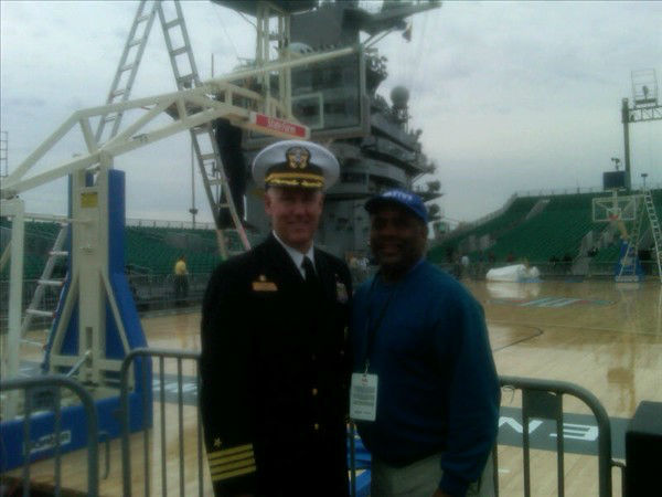 "<div class=""meta image-caption""><div class=""origin-logo origin-image ""><span></span></div><span class=""caption-text"">Commanding Officer Captain Bruce H. Lindsey of the USS Carl Vinson and Game Day Charlie. (WTVD Photo/ Charlie Mickens)</span></div>"