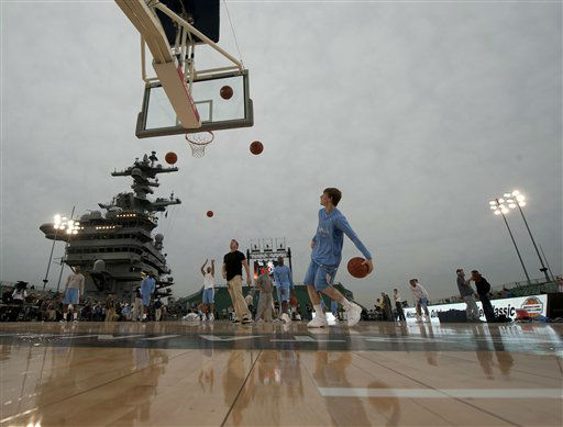 The North Carolina basketball team practices on Thursday, Thursday, Nov. 10, 2011, for the Carrier Classic NCAA college basketball game aboard the USS Carl Vinson, Thursday, Nov. 10, 2011, in Coronado, Calif. North Carolina and Michigan State are scheduled to play the first Carrier Classic basketball game on the flight deck of the ship on Saturday.  <span class=meta>(AP Photo&#47;U.S. Navy, Mass Communication Specialist 2nd Class James R. Evans)</span>