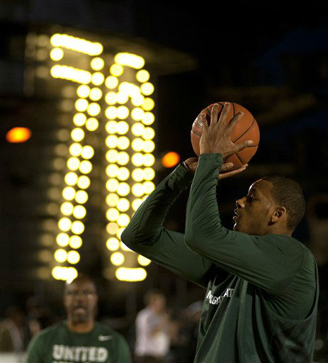 Michigan State&#39;s Derrick Nix shoots during practice on Thursday, Nov. 10, 2011, for the Carrier Classic NCAA college basketball game aboard the USS Carl Vinson, Thursday, Nov. 10, 2011, in Coronado, Calif. North Carolina and Michigan State are scheduled to play the first Carrier Classic basketball game on the flight deck of the ship on Saturday. <span class=meta>(AP Photo&#47;U.S. Navy, Mass Communication Specialist 2nd Class James R. Evans)</span>