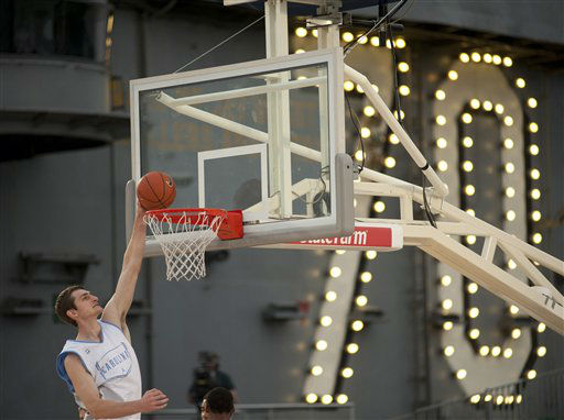 "<div class=""meta image-caption""><div class=""origin-logo origin-image ""><span></span></div><span class=""caption-text"">North Carolina's Tyler Zeller dunks during a practice on Thursday, Nov. 10, 2011, for the Carrier Classic NCAA college basketball game aboard the USS Carl Vinson, Thursday, Nov. 10, 2011, in Coronado, Calif. North Carolina and Michigan State are scheduled to play the first Carrier Classic basketball game on the flight deck of the ship on Friday.  (AP Photo/U.S. Navy, Mass Communication Specialist 2nd Class James R. Evans)</span></div>"