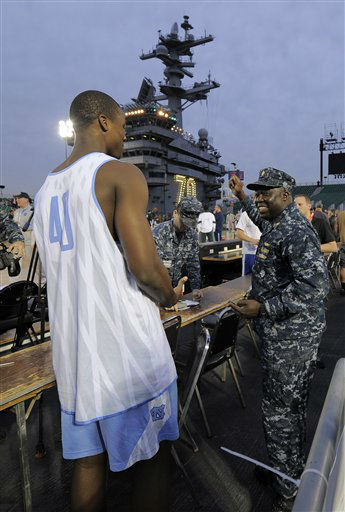 North Carolina&#39;s Harrison Barnes, left, talks with Lt. Cmdr. Bryan Luke during practice for the Carrier Classic college basketball game aboard the USS Carl Vinson, Thursday, Nov. 10, 2011, in Coronado, Calif. North Carolina and Michigan State are scheduled to play Friday on on the flight deck of the ship.  <span class=meta>(AP Photo&#47; Mark J. Terrill)</span>
