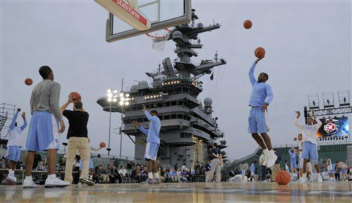 Members of North Carolina practice for the Carrier Classic NCAA college basketball game aboard the USS Carl Vinson, Thursday, Nov. 10, 2011, in Coronado, Calif.. North Carolina and Michigan State are scheduled to play the first Carrier Classic basketball game on the flight deck of the ship. <span class=meta>(AP Photo&#47; Mark J. Terrill)</span>