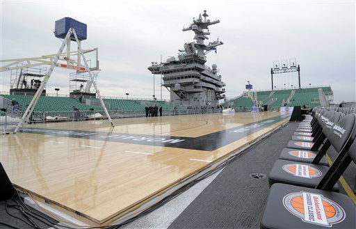 The basketball floor to be used for the Carrier Classic NCAA college basketball game is seen on the deck of the USS Carl Vinson, Thursday, Nov. 10, 2011, in Coronado, Calif. North Carolina and Michigan State will play the first Carrier Classic basketball game on the flight deck of the ship, Friday, Nov. 11.  <span class=meta>(AP Photo&#47; Mark J. Terrill)</span>
