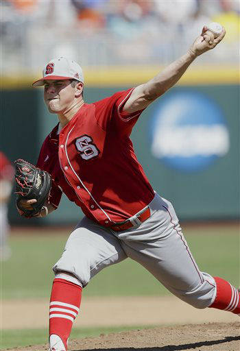 North Carolina State pitcher Carlos Rodon delivers against North Carolina in the sixth inning of an NCAA College World Series baseball game in Omaha, Neb., Sunday, June 16, 2013.  <span class=meta>(AP Photo&#47; Nati Harnik)</span>