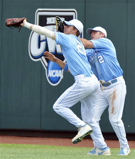 North Carolina right fielder Skye Bolt, left, catches a fly ball hit by North Carolina State&#39;s Tarran Senay as North Carolina center fielder Chaz Frank, right, brushes his glove against Bolt&#39;s face in the third inning of an NCAA College World Series baseball game in Omaha, Neb., Sunday, June 16, 2013.  <span class=meta>(AP Photo&#47; Ted Kirk)</span>