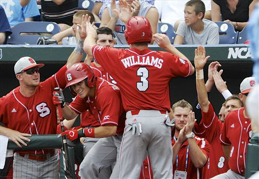 "<div class=""meta ""><span class=""caption-text "">North Carolina State's Brett Williams (3) is congratulated at the dugout after scoring a run against North Carolina on a single by Bryan Adametz in the third inning of an NCAA College World Series baseball game in Omaha, Neb., Sunday, June 16, 2013.  (AP Photo/ Eric Francis)</span></div>"
