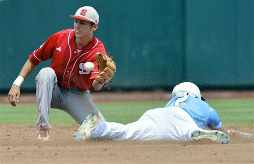 North Carolina&#39;s Chaz Frank &#40;2&#41; steals second base ahead of the throw to North Carolina State shortstop Trea Turner, left, in the first inning of an NCAA College World Series baseball game in Omaha, Neb., Sunday, June 16, 2013.  <span class=meta>(AP Photo&#47; Ted Kirk)</span>