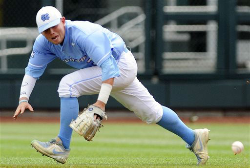 North Carolina second baseman Mike Zolk chases a ball hit by North Carolina State&#39;s Bryan Adametz for an RBI-single in the third inning of an NCAA College World Series baseball game in Omaha, Neb., Sunday, June 16, 2013. North Carolina State&#39;s Brett Williams scored on the play.  <span class=meta>(AP Photo&#47; Eric Francis)</span>