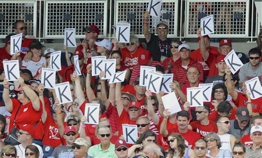 "<div class=""meta ""><span class=""caption-text "">North Carolina State fans hold K signs in the third inning of an NCAA College World Series game against North Carolina in Omaha, Neb., Sunday, June 16, 2013.  (AP Photo/ Eric Francis)</span></div>"
