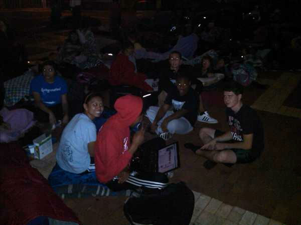 Hundreds of people camped out overnight Monday for a chance to be some of the first people to get tickets to see President Barack Obama. <span class=meta>(Photo&#47;ABC11 Photojournalist Jim Schumacher)</span>