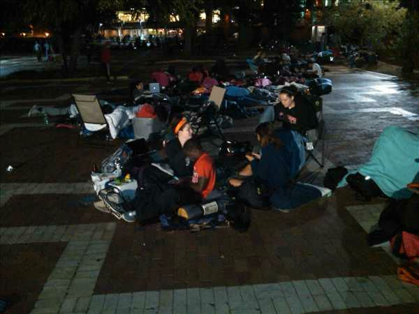 "<div class=""meta image-caption""><div class=""origin-logo origin-image ""><span></span></div><span class=""caption-text"">Hundreds of people camped out overnight Monday for a chance to be some of the first people to get tickets to see President Barack Obama. (Photo/ABC11 Photojournalist Jim Schumacher)</span></div>"