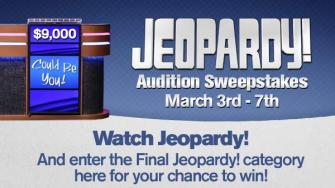 Jeopardy Audition Sweepstakes