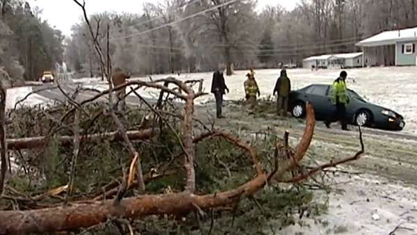 A blast of rain, sleet, and ice brought down trees and caused thousands of power outages across the region. Seeing damage where you are? Send your pictures to iwitness@abc11mail.com. <span class=meta>(WTVD)</span>