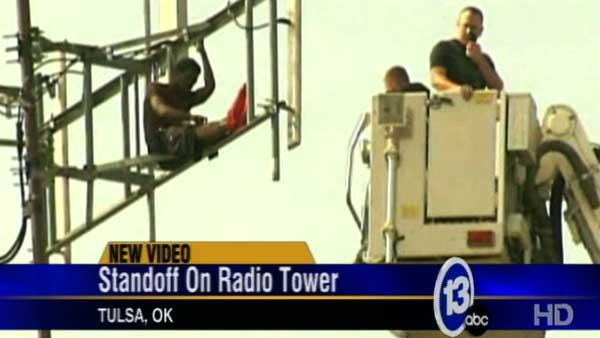 Man illegally camps out on radio tower for days