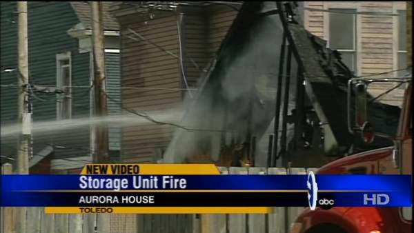 Garage at Aurora House goes up in flames