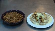 Here are two inexpensive recipes that are healthy, homemade and completely gluten-free: Apple Crisp and  Fettuccini Alfredo with Almond Crusted Chicken.