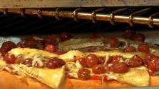 Baguette Pizza with Roasted Grapes, Red Pickled Peppers and Brie