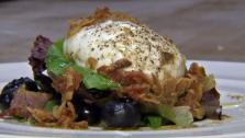 Fall Salad with Poached Egg and Warm Bacon Vinaigrette